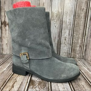 Trotters Gray Suede Boots - fold over - size 6 like new